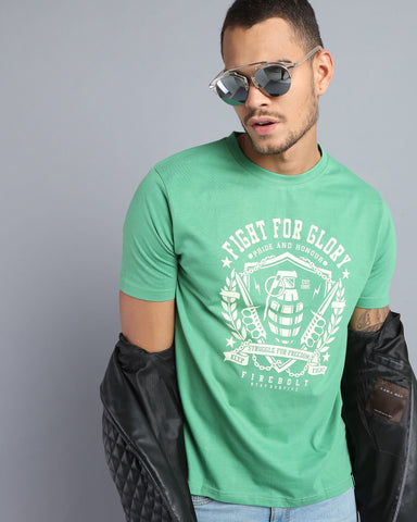 Printed Round Neck T-shirt in Fresh Green