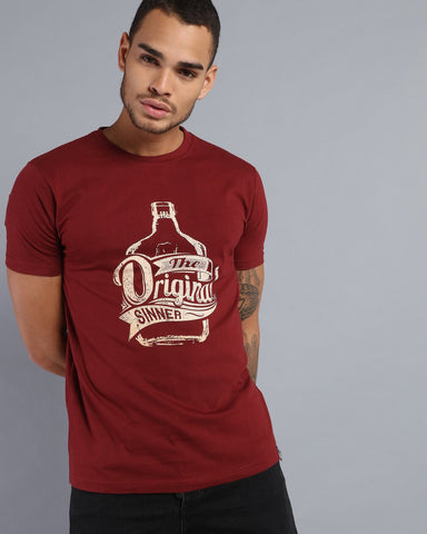 Printed Crew Neck T-shirt in Maroon