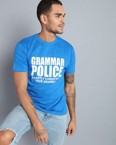 Crew-Neck T-shirt with Typographic Print in Royal Blue