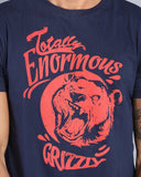 Printed Crew Neck Tee in Navy Blue