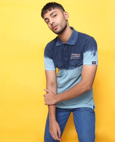 Tie & Dye pattern Polo T-shirt in Blue