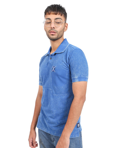 Vintage Wash Style Polo Tee In Sky Blue