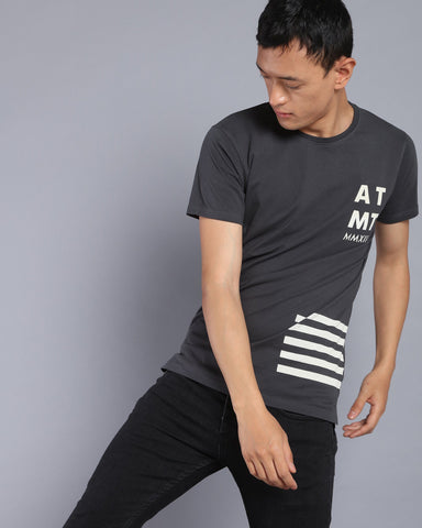 Printed Longline T-shirt with High-Low Hem In Dark Grey