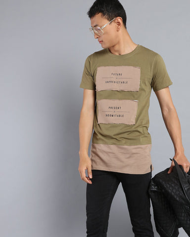 Chest Patch T-shirt with Contrast Hem Extender In Olive Green