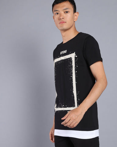 Longline T-shirt with Contrast Hem In Black