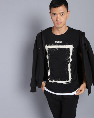 Printed Longline T-shirt with Contrast Hem In Black