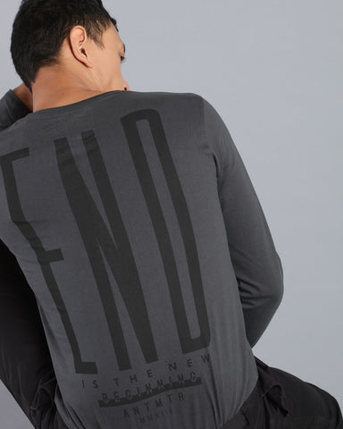 Long Sleeve T-shirt with Back Print In Dark Grey