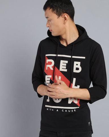 Printed T-shirt Hoodie with Three Quarter Sleeves in Black