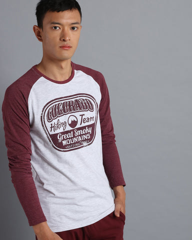 Long Sleeve Raglan T-shirt with Print in Ecru Melange