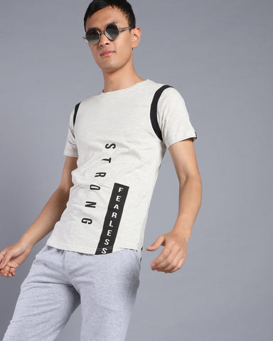 Short Sleeve Tshirt with Vertical Print in Ecru Melange