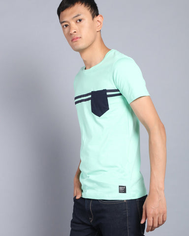 Pocket T-shirt with Stripe Print In Mint Green