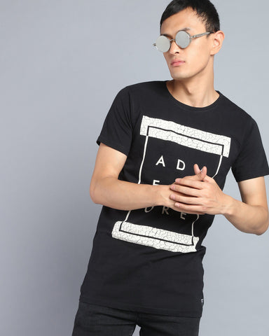 Crew Neck Printed T-shirt in Black
