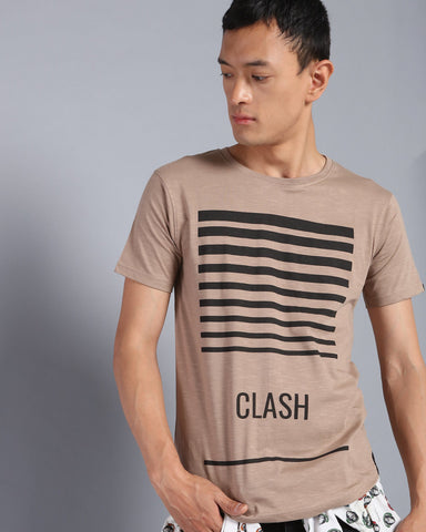 Printed Crew Neck T-shirt In Taupe Grey