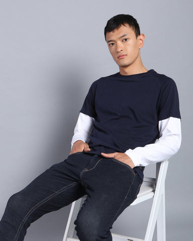 Crew Neck Doctor Sleeve T-shirt In Navy Blue