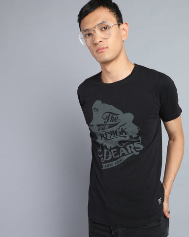Graphic Printed Crew Neck T-shirt in Black
