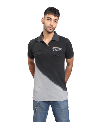 Tie & Dye Polo T-shirt In Black & Grey
