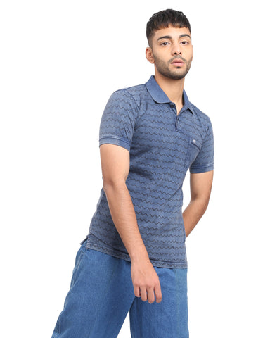 Vintage Wash Printed Polo T-shirt In Dark Blue