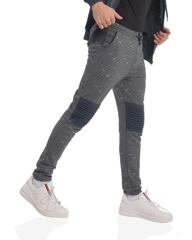 AOP Skinny Fit joggers with biker knee patch in Navy