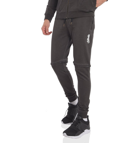 Skinny Fit Washed Joggers with Knee Panel in Graphite Grey