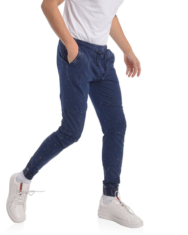 Skinny Fit Joggers with Knee Patch & Print in Dark Blue