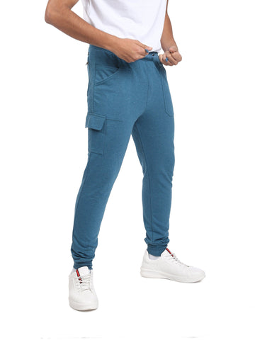 Basic Skinny Fit Cargo Joggers in Shade of Blue