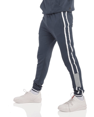 Slim fit fleece joggers with Contrast Taping in Navy Blue