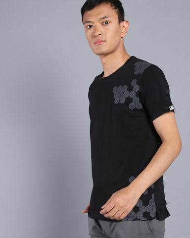 Relaxed Fit Printed Crew Neck T-shirt In Black