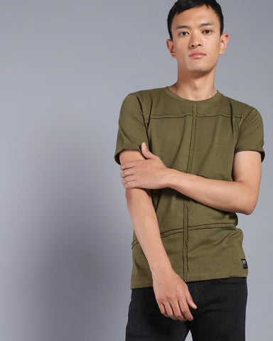 Crew Neck Tshirt With Fabric Stripes In Olive Green