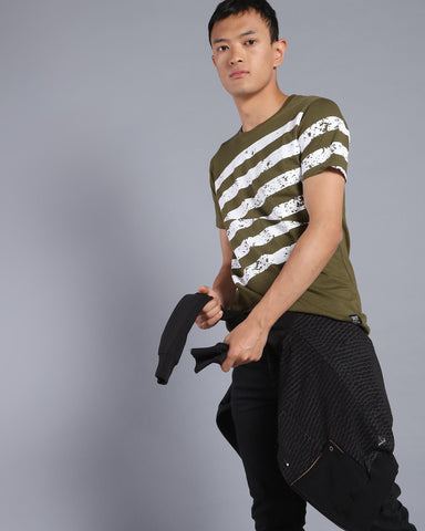 Stripes Print Crew Neck T-shirt In Olive Green