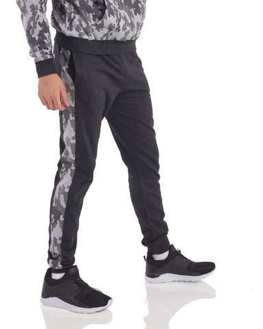 Camouflage side panel Joggers in Melange Black