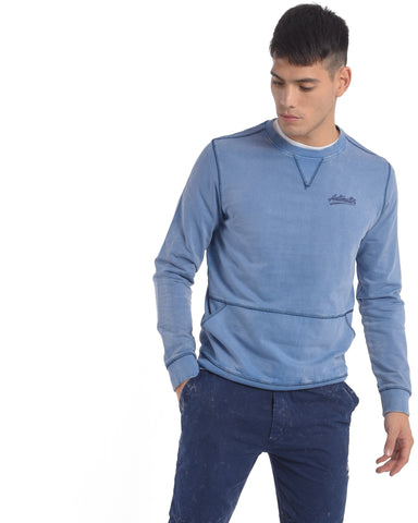 Sweatshirt With Washed Vintage Look in Light Blue
