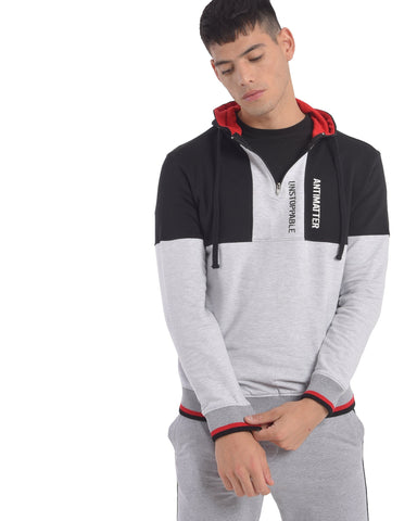 Melange Grey & Black Colourblock Zip Hoodie
