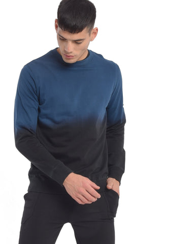 Sweatshirt With Ombre Wash in Teal