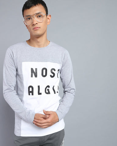 Crew Neck Printed T-shirt In White & Grey