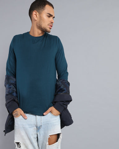 Crew Neck Long Sleeve T-shirt in Teal Blue