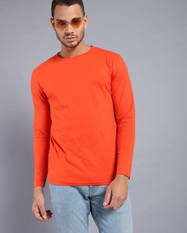 Crew Neck Long Sleeve T-shirt in Orange