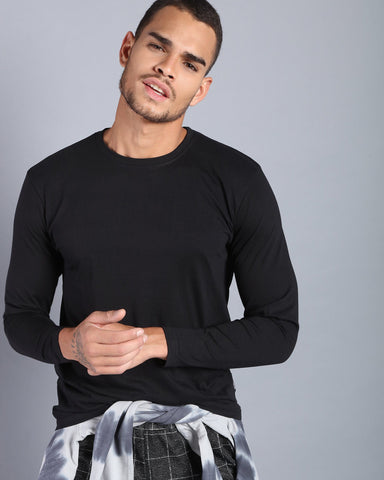 Crew Neck Long Sleeve T-shirt in Black