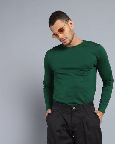 Crew Neck Long Sleeve T-shirt in Military Green
