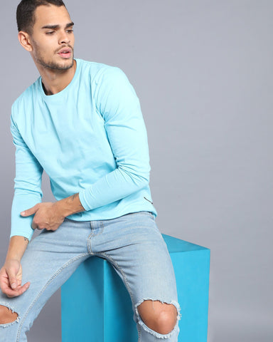 Crew Neck Long Sleeve T-shirt in Sky Blue