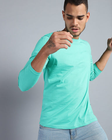 Crew Neck Long Sleeve T-shirt in Fresh Green