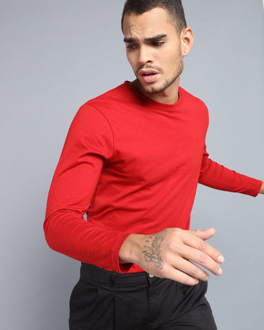 Crew Neck Long Sleeve T-shirt in Red