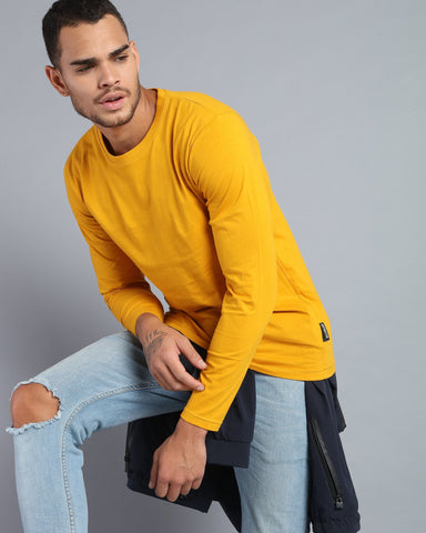 Crew Neck Long Sleeve T-shirt in Mustard