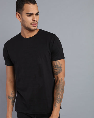 Crew Neck Short Sleeve T-shirt in Black