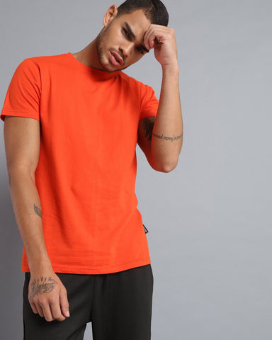 Crew Neck Short Sleeve T-shirt in Orange