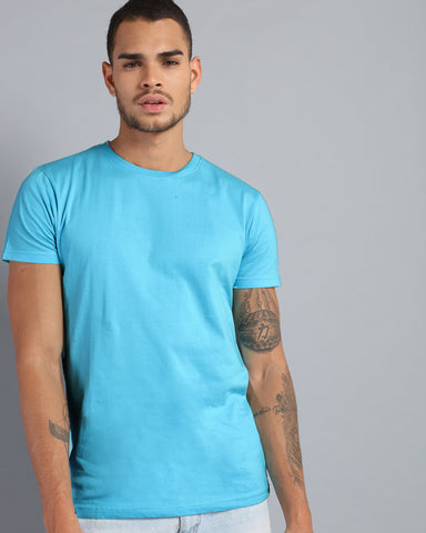 antimatter round neck half-sleeve t-shirt in blue