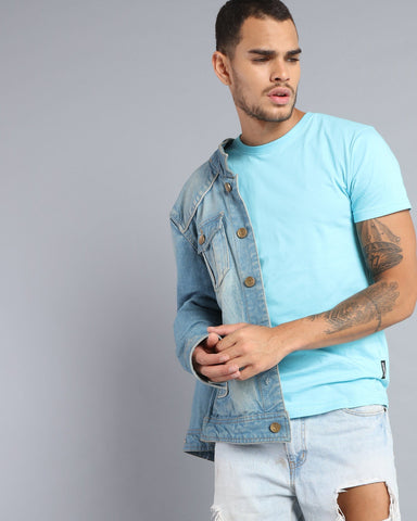 Crew Neck Short Sleeve T-shirt in Sky Blue