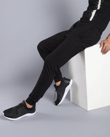 Slim Fit Solid Joggers in Black