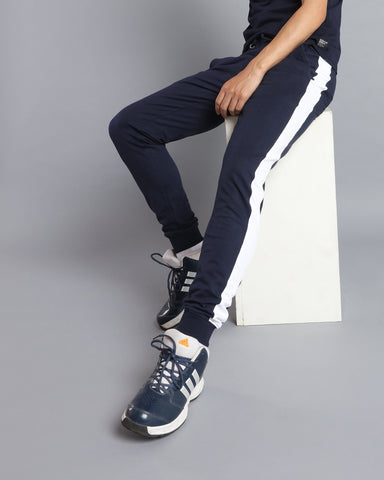Slim Fit Joggers with Side Stripe in Navy Blue