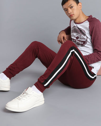 Joggers with Side Stripe in Maroon
