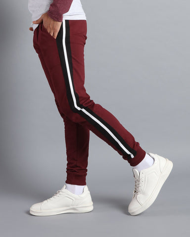 Maroon Joggers with two colour side stripes by Antimatter